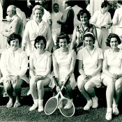 Old Girls' Tennis - prob. 1960. (Names by Janet Davey)