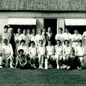 Old boys' cricket & old girls' tennis - probably 1960